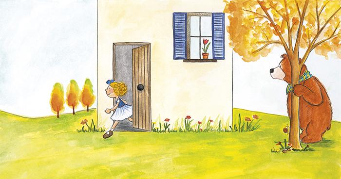 2015 · El Petit Ós s'amaga darrere d'un arbre i espera que la Rínxols d'Or surti de casa.